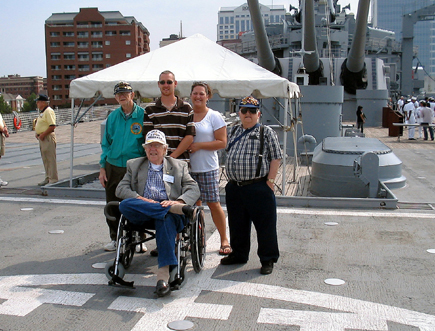On the deck of the USS Wisconsin BB-64