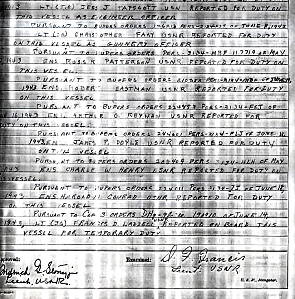 Ships log at commisioning July 1943 Page-2-2