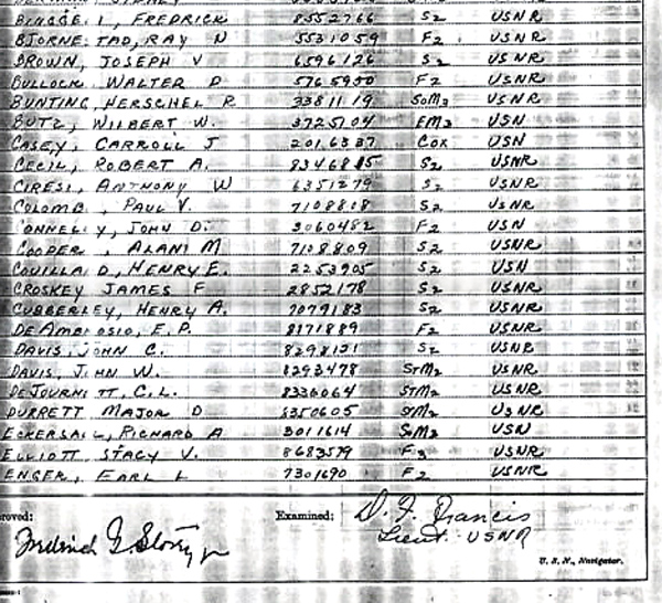Ships log at commisioning July 1943 Page-3-2