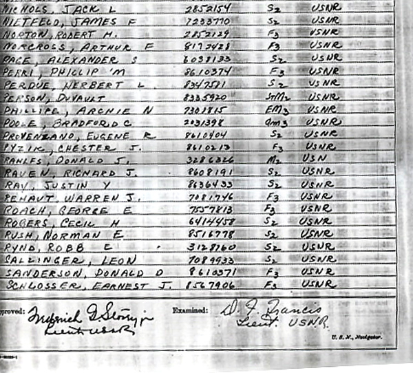 Ships log at commisioning July 1943 Page-5-2