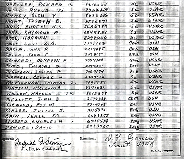 Ships log at commisioning July 1943 Page-6-2