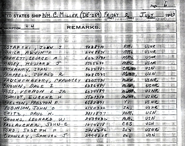 Ships log at commisioning July 1943 Page-7-1